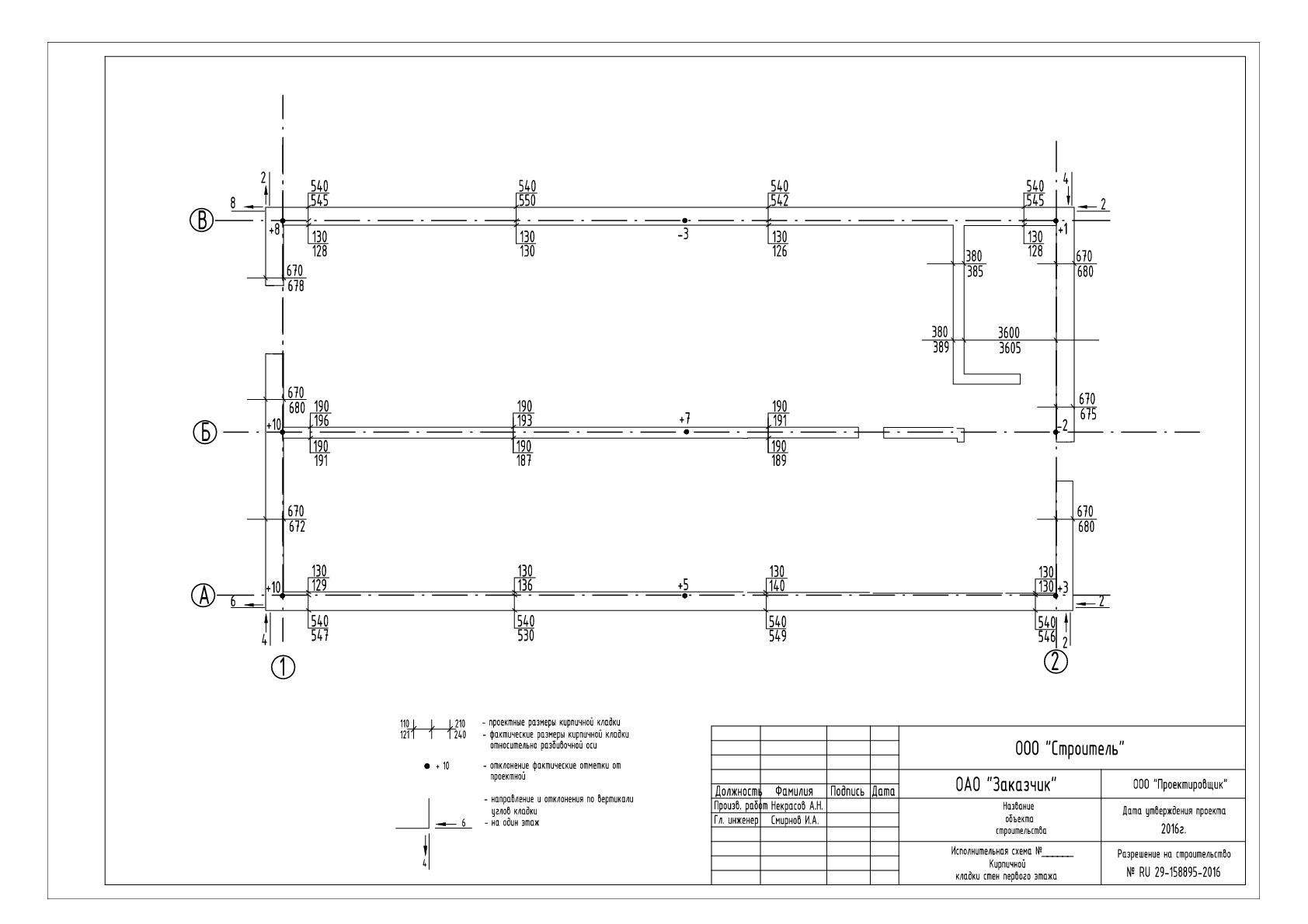 Исполнительная схема стен